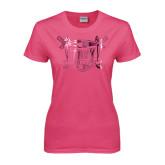 Ladies Fuchsia T Shirt-Troy Trojans Shield Foil