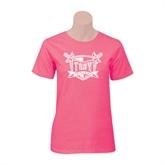 Ladies Fuchsia T Shirt-Troy Trojans Shield