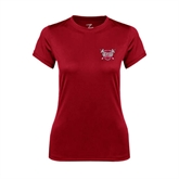 Ladies Syntrel Performance Cardinal Tee-Troy Trojans Shield