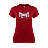 Ladies Syntrel Performance Cardinal Tee-Troy Trojans Wide Shield