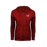 ENZA Ladies Cardinal Fleece Full Zip Hoodie-Troy Trojans Shield