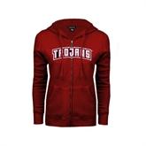 ENZA Ladies Cardinal Fleece Full Zip Hoodie-Arched Trojans