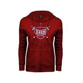 ENZA Ladies Cardinal Fleece Full Zip Hoodie-Troy Trojans Shield Distressed