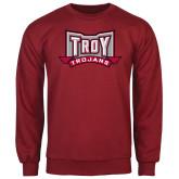 Cardinal Fleece Crew-Troy Trojans Wide Shield