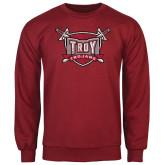 Cardinal Fleece Crew-Troy Trojans Shield Distressed