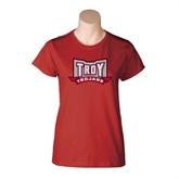 Ladies Cardinal T Shirt-Troy Trojans Wide Shield