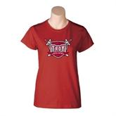 Ladies Cardinal T Shirt-Troy Trojans Shield Distressed