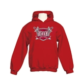Youth Cardinal Fleece Hoodie-Troy Trojans Shield Distressed