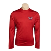 Performance Cardinal Longsleeve Shirt-Troy Trojans Shield