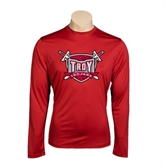 Syntrel Performance Cardinal Longsleeve Shirt-Troy Trojans Shield