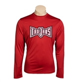 Performance Cardinal Longsleeve Shirt-Trojans Shield