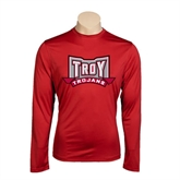 Syntrel Performance Cardinal Longsleeve Shirt-Troy Trojans Wide Shield