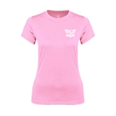 Ladies Performance Light Pink Tee-Troy Trojans Shield
