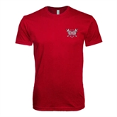 Next Level SoftStyle Cardinal T Shirt-Troy Trojans Shield