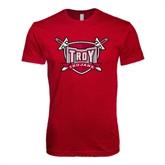 Next Level SoftStyle Cardinal T Shirt-Troy Trojans Shield