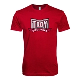 Next Level SoftStyle Cardinal T Shirt-Troy Trojans Wide Shield