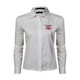 Ladies White Twill Button Down Long Sleeve-Troy Trojans Shield
