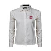 Ladies White Twill Button Down Long Sleeve-Troy Trojans Shield