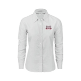 Ladies White Oxford Shirt-Troy Trojans Wide Shield