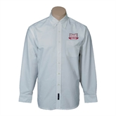 Mens White Oxford Long Sleeve Shirt-Troy Trojans Wide Shield
