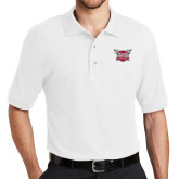 White Easycare Pique Polo-Troy Trojans Shield