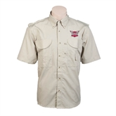 Khaki Short Sleeve Performance Fishing Shirt-Troy Trojans Shield