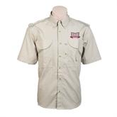 Khaki Short Sleeve Performance Fishing Shirt-Troy Trojans Wide Shield