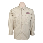 Khaki Long Sleeve Performance Fishing Shirt-Troy Trojans Wide Shield