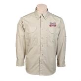 Khaki Long Sleeve Performance Fishing Shirt-Troy Trojans Wide Shield
