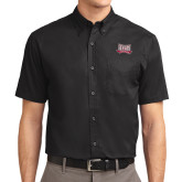 Black Twill Button Down Short Sleeve-Troy Trojans Wide Shield