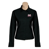 Ladies Black Twill Button Down Long Sleeve-Troy Trojans Wide Shield