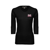Ladies Black 3/4 Sleeve Scoop Neck-Troy Trojans Wide Shield