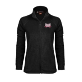 Ladies Fleece Full Zip Black Jacket-Troy Trojans Wide Shield