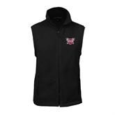Fleece Full Zip Black Vest-Troy Trojans Shield