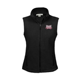 Ladies Fleece Full Zip Black Vest-Troy Trojans Wide Shield