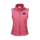 Ladies Fleece Full Zip Raspberry Vest-Troy Trojans Wide Shield