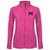 Ladies Fleece Full Zip Raspberry Jacket-Troy Trojans Wide Shield