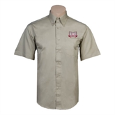 Khaki Twill Button Down Short Sleeve-Troy Trojans Wide Shield