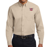 Khaki Twill Button Down Long Sleeve-Troy Trojans Shield