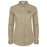 Ladies Khaki Twill Button Down Long Sleeve-Troy Trojans Wide Shield