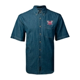 Denim Shirt Short Sleeve-Troy Trojans Shield
