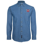 Denim Shirt Long Sleeve-Troy Trojans Shield