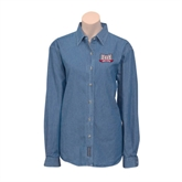 Ladies Denim Long Sleeve Shirt-Troy Trojans Wide Shield