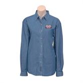 Ladies Denim Long Sleeve Shirt-Troy Trojans Wide Shield