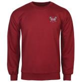 Cardinal Fleece Crew-Troy Trojans Shield