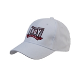White Heavyweight Twill Pro Style Hat-Troy Trojans Puff