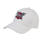 White Heavyweight Twill Pro Style Hat-Troy Trojans Shield