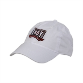 White Twill Unstructured Low Profile Hat-Troy Trojans Puff