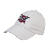 White Twill Unstructured Low Profile Hat-Troy Trojans Shield