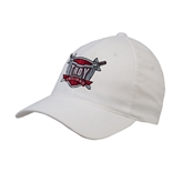 White OttoFlex Unstructured Low Profile Hat-Troy Trojans Shield